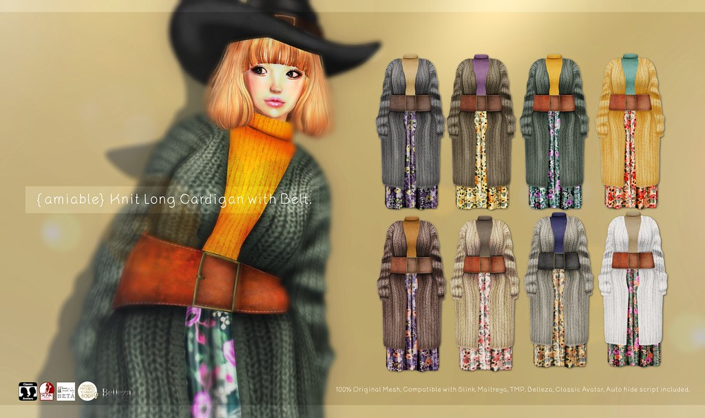 {amiable}Knit Long Cardigan with Belt@Collabor88 December. - TeleportHub.com Live!