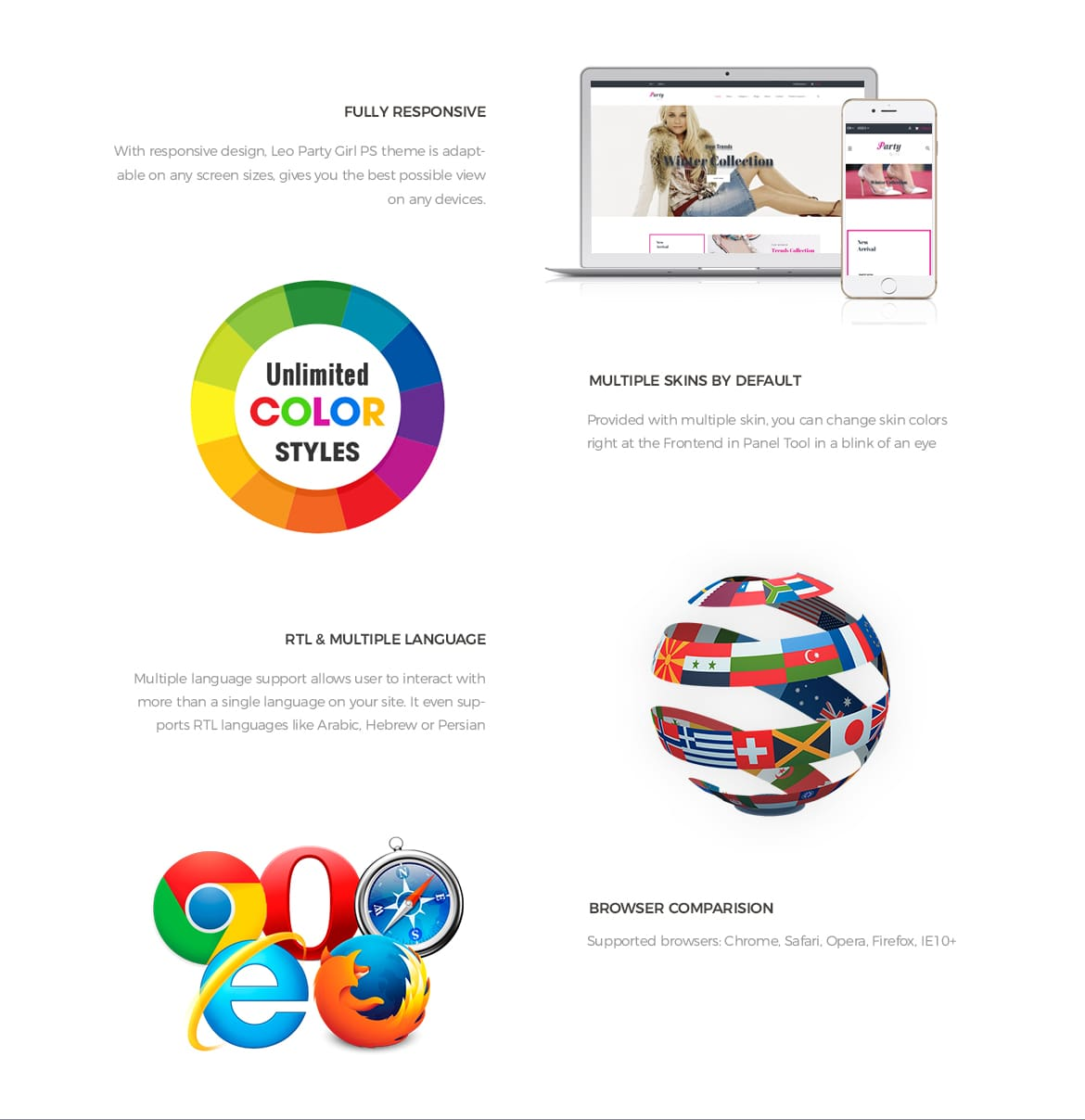 Prestashop 1.7 theme features-Leo Party Girl - Shoes and Fashion Prestashop 1.7 theme