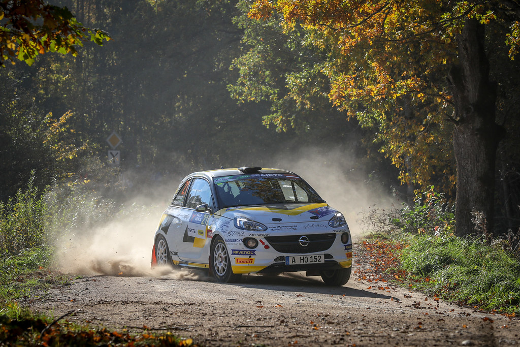 21 KRISTENSSON Tom, (SWE), Henrik APPELSKOG, (SWE), ADAC Opel Rallye Junior Team, Opel Adam R2, Action during the 2018 European Rally Championship ERC Liepaja rally,  from october 12 to 14, at Liepaja, Lettonie - Photo Alexandre Guillaumot / DPPI