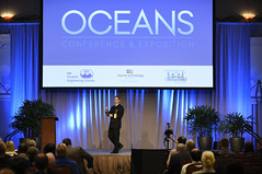 Rear Adm. David Hahn gives the keynote address during the 2018 OCEANS conference.