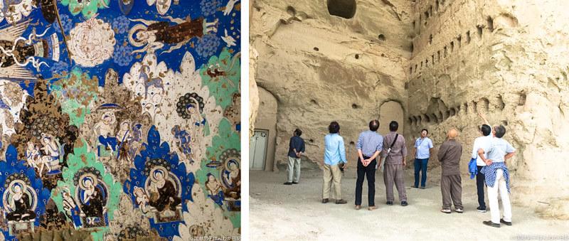 仏の教えを説く壁画・無残なキジル大像窟を見上げる一行
