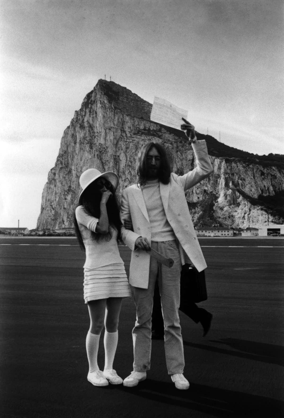 Yoko Ono and John Lennon at Gibraltar on their wedding day, March 20, 1969.