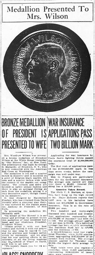 WWI Wilson Medallion presented newspaper articles