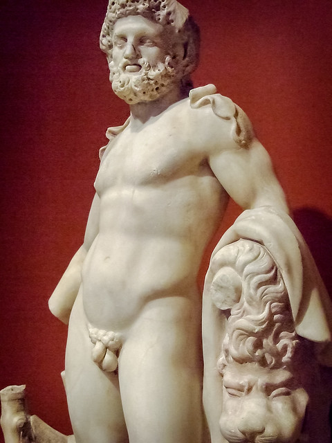 Herakles (Hercules) Roman 100-200 CE Marble with traces of pigment (3)
