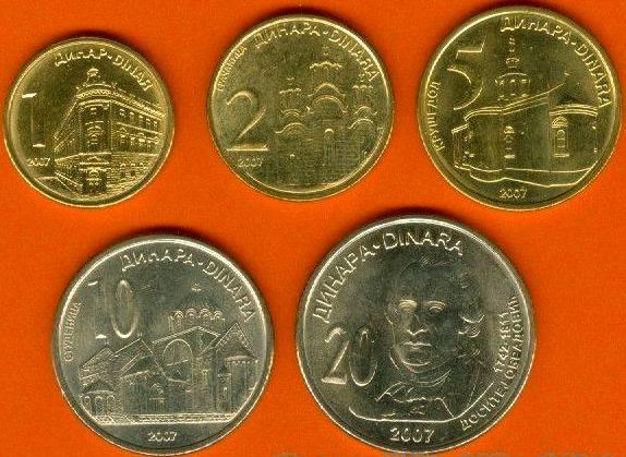 Srbsko 1-2-5-10-20 Dinara 2007