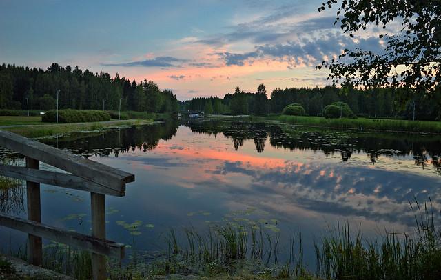 Summer dream... Sunset on the lake Päijänne. Finland.