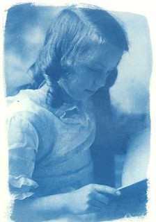 Cyanotype print made on an UV contact printer and a photographic dry plate (glass plate) without using digital negative processing
