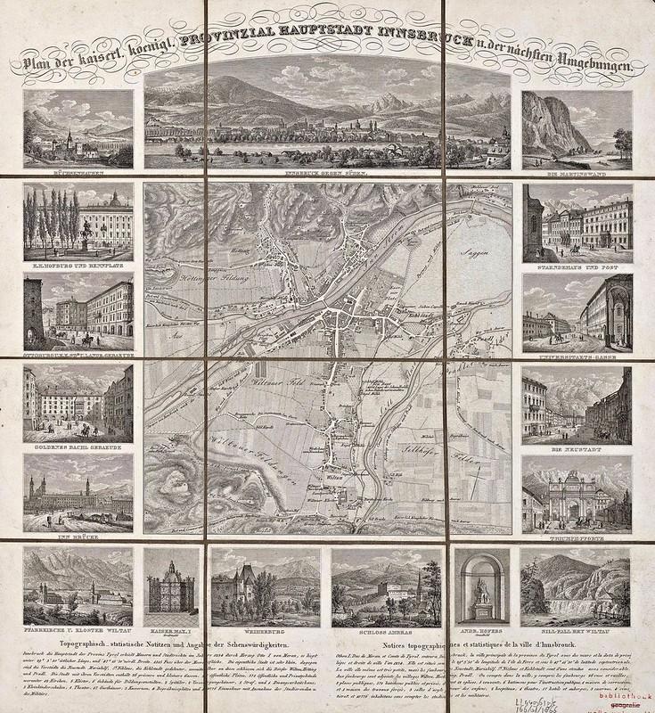 Plan der k.k. Provinzialhauptstadt Innsbruck und der nächsten Umgebungen (c.1850)