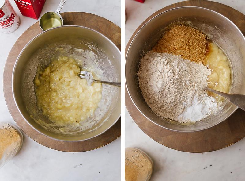 vegan banana bread: mix wet ingredients, add dry ingredients