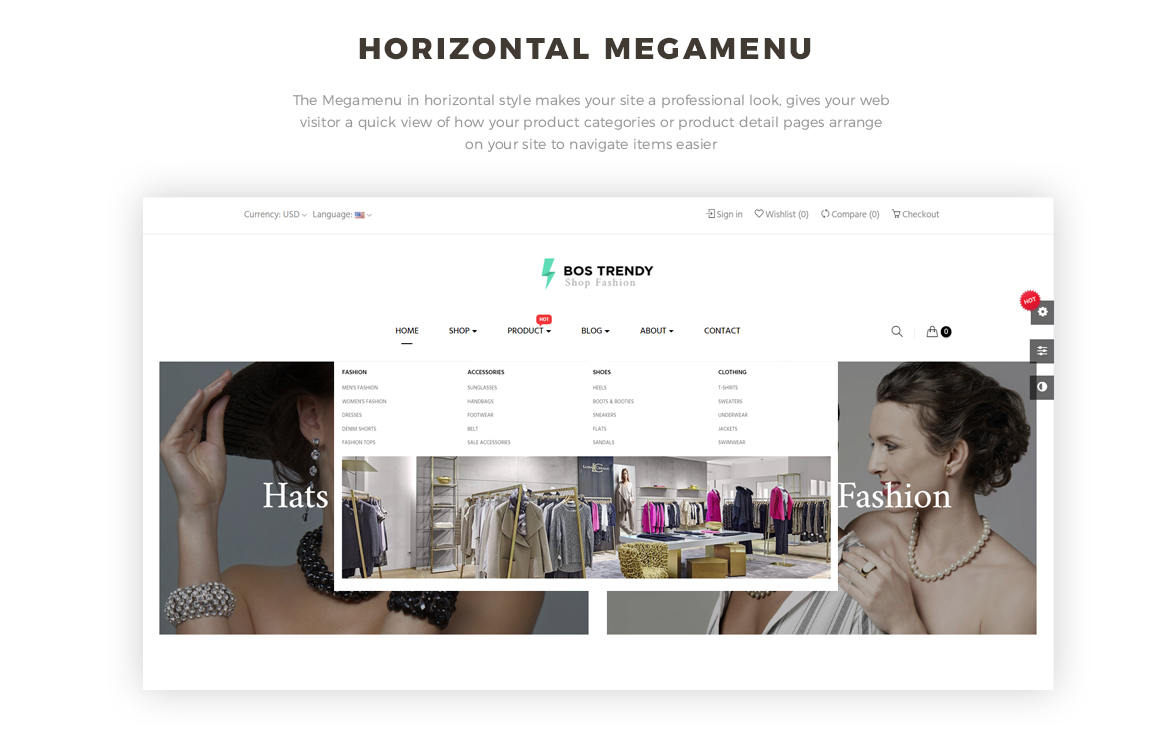 horizontal mege menu -Bos Trendy Prestashop 1.7 theme - Fashion and Accessories - free install support