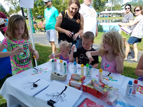Creating colorful trees at ArtFest