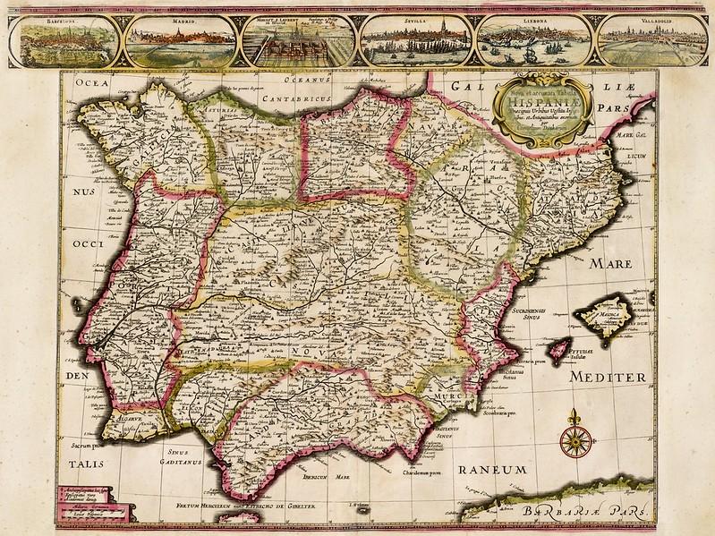 Cornelis II Danckerts - Nova et accurata Tabula Hispania Praecipuis Urbibus Vestitu Insignibus et Antiquitatibus (1640)