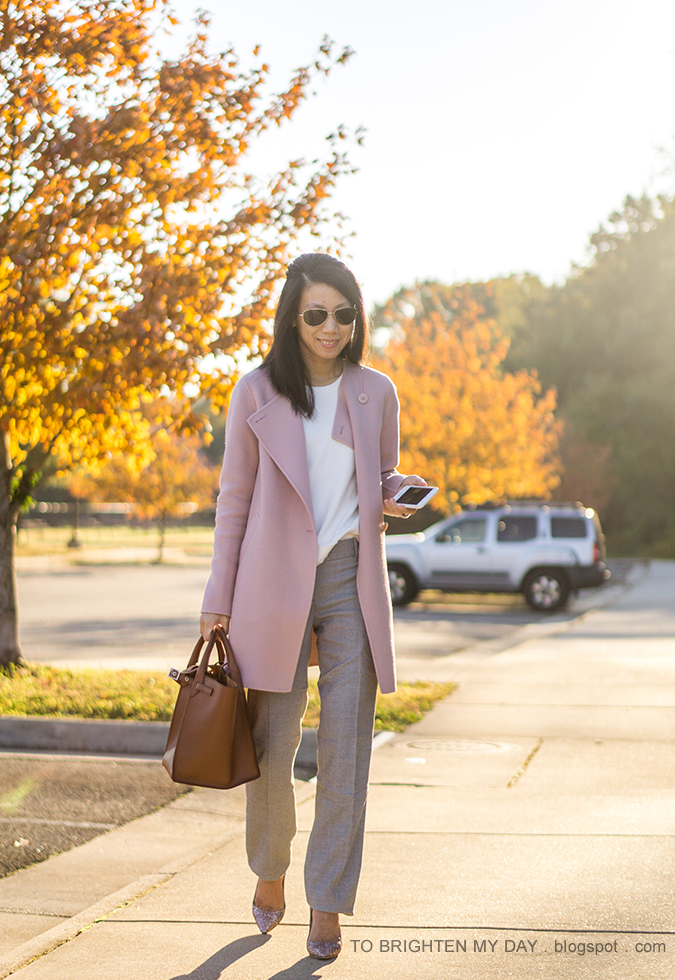 pink wool draped front open jacket, white fringe sweater tee, gray trousers, brown tote, pink glitter pumps