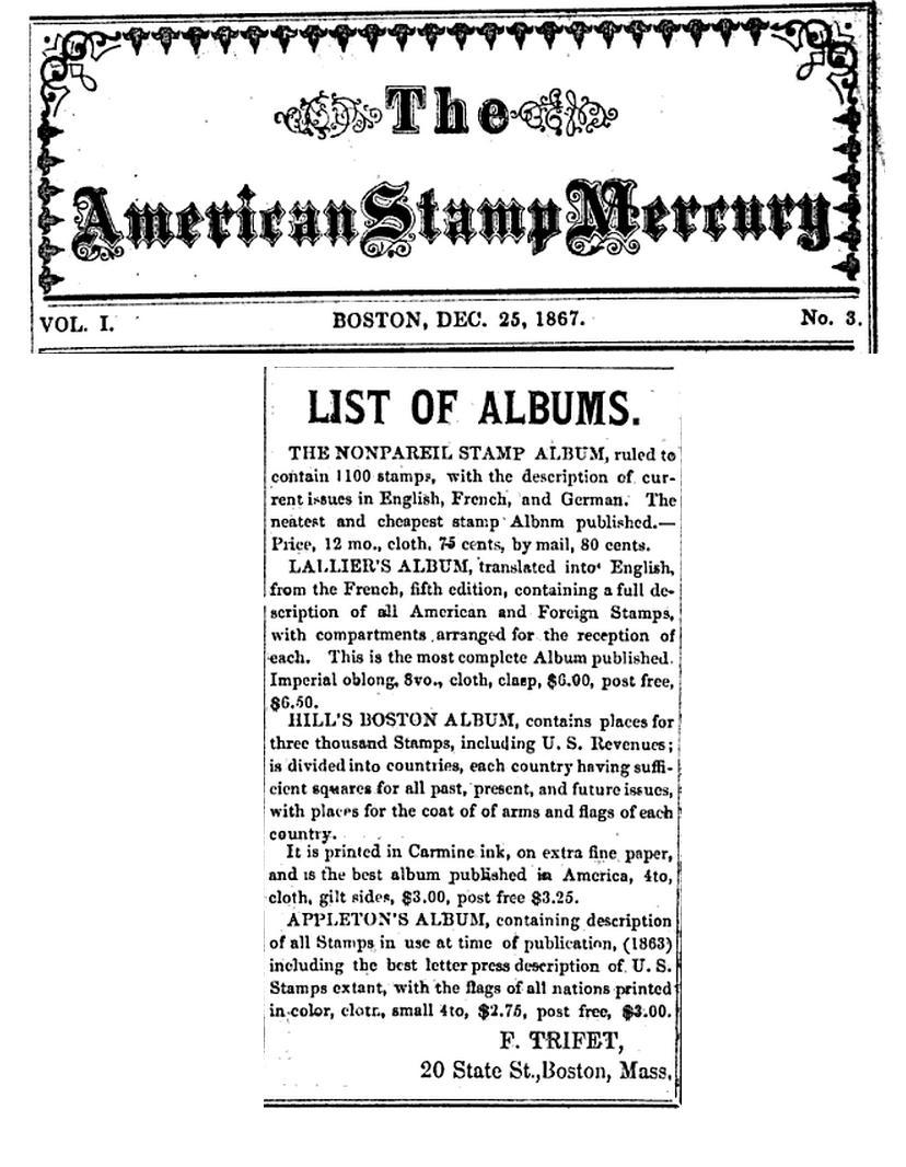 List of stamp albums, from the American Stamp Mercury for December 25, 1867