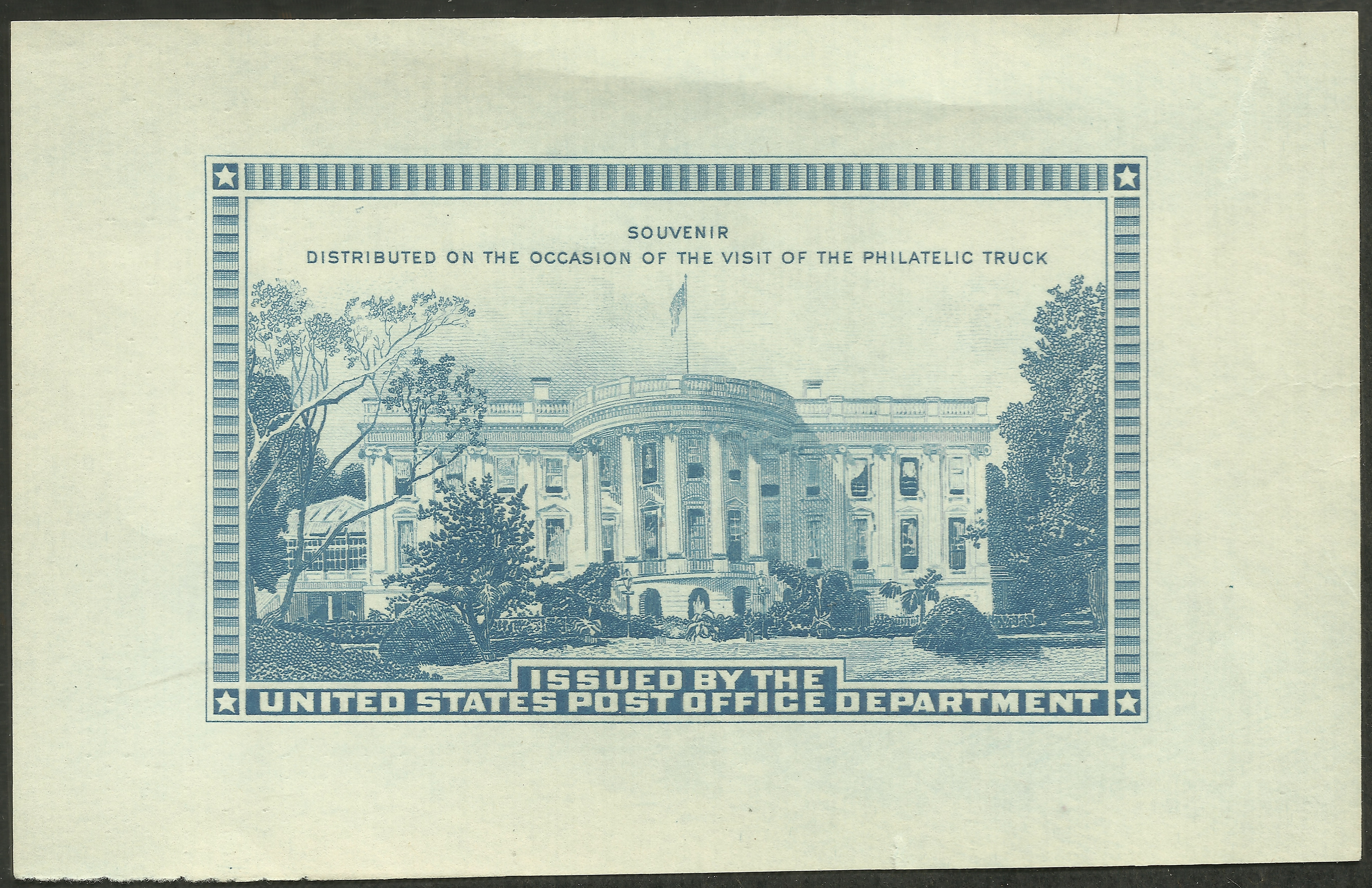 Although this souvenir sheet was printed by the Bureau of Engraving and Printing in Washington, D.C., and distributed by the United States Post Office Department to people visiting its Philatelic Truck as it crisscrossed the nation from May 1939 to December 1941, it is still considered a cinderella due to the fact that it wasn't intended to postal purposes.