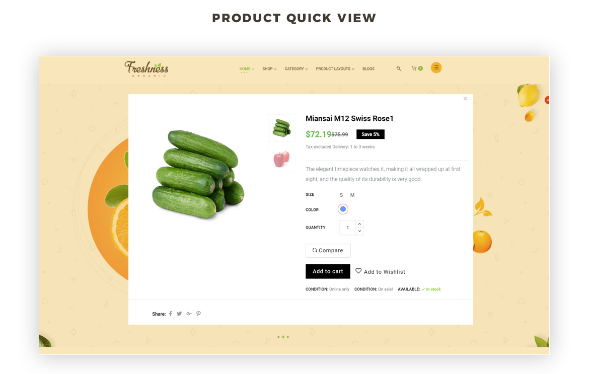 product quick view - food prestashop theme