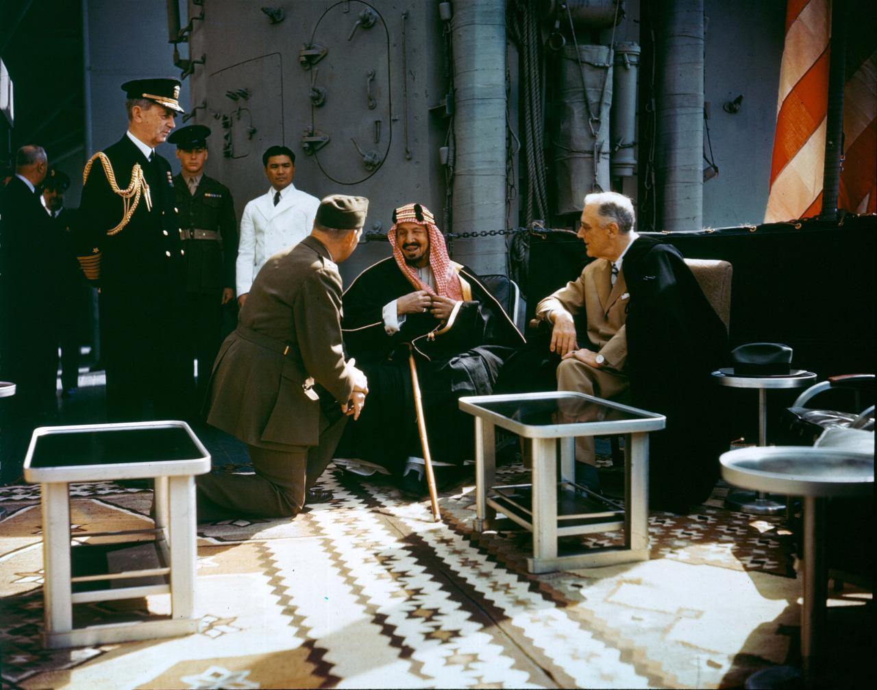 President Franklin Roosevelt meets with King Ibn Saud, of Saudi Arabia, on board USS Quincy in the Great Bitter Lake, Egypt, on 14 Feb. 1945.