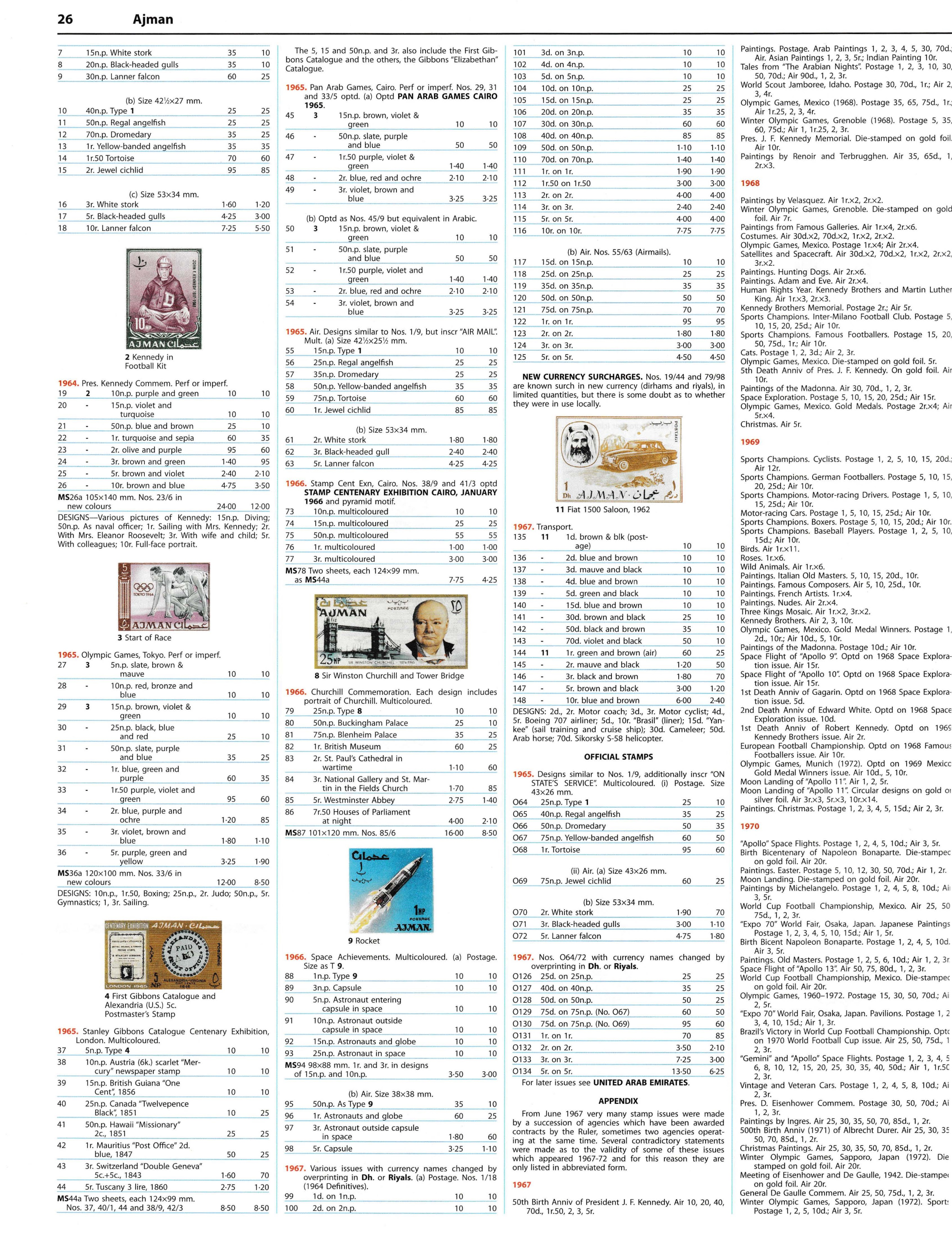 Stanley Gibbons catalogue (2014 edition) listing for Ajman including the 1965 Stanley Gibbons 125th anniversary set.