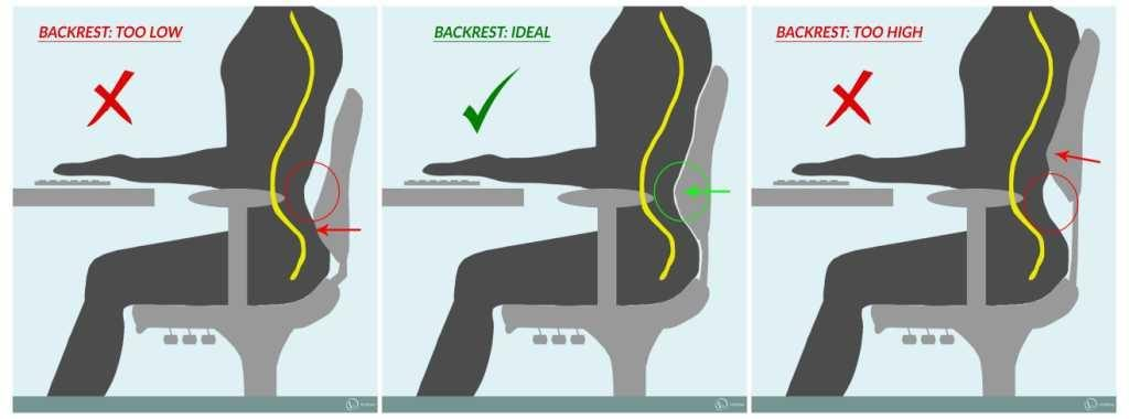An ergonomic backrest promotes good posture
