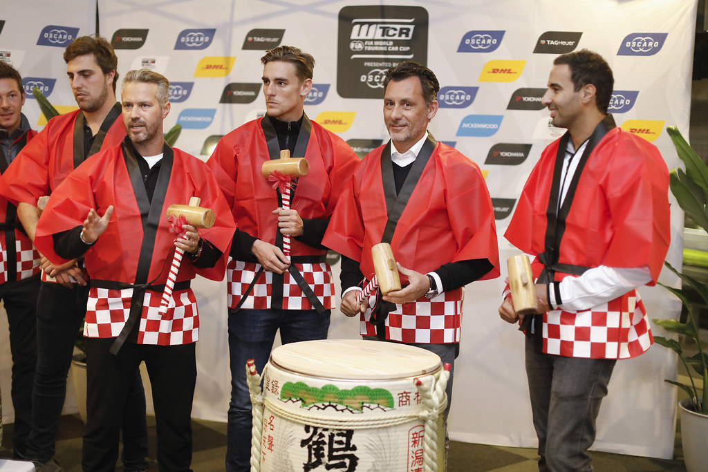 Sake ceremony RIBEIRO François, WTCR Eurosport Motorsport Director, portrait MONTEIRO Tiago, (prt), Honda Civic TCR team Boutsen Ginion racing, portrait during the 2018 FIA WTCR World Touring Car cup of Japan, at Suzuka from october 26 to 28 - Photo Francois Flamand / DPPI