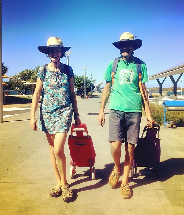 217/365 • a photo of M and I in our matching ex-Commonwealth Games op-shop hats, hitting our stride and busting our arses to pull it all together in order to leave for Lord Howe Island in the morning. It's at least a two night passage, but compared to Van