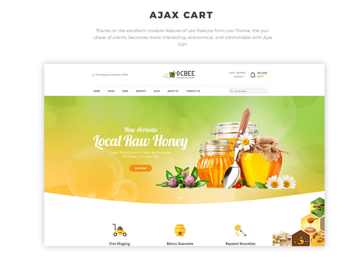 ajax add to cart - Bos Ocbee prestashop 1.7 theme - honey, food, beauty store