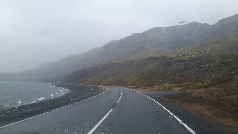 Windy and rainy weather driving past a lake on our Iceland Road trip