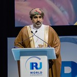 Ahmed Mohammed Salem Al-futasi during Plenary session 1 at IRU World Congress in Muscat, Oman