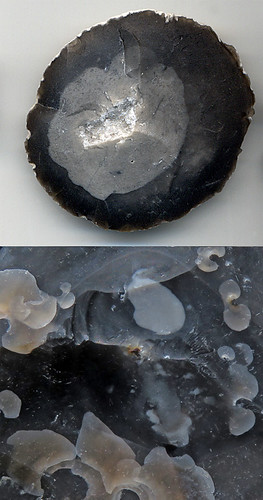 Circle of flint with crystals in the centre, along with close-up of the translucent nature of flint