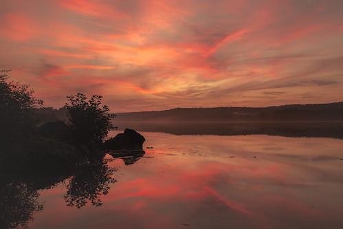 mist lake sunset sussexcounty swartswoodlake lakeswartswood swartswood stillwater newton newjersey unitedstates us