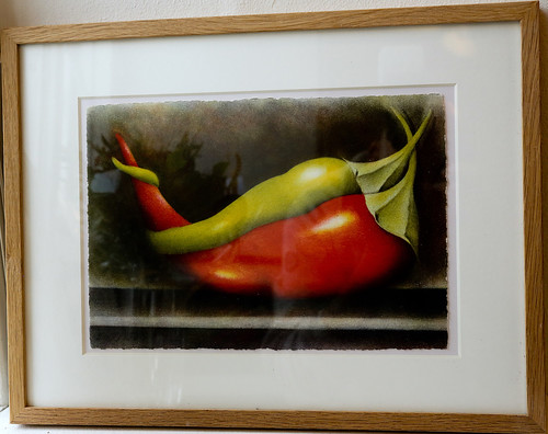 Sensuellt omslingrande grönsaker. Paprikor? Pepperoni? Eva Boström har låtit sig inspireras.