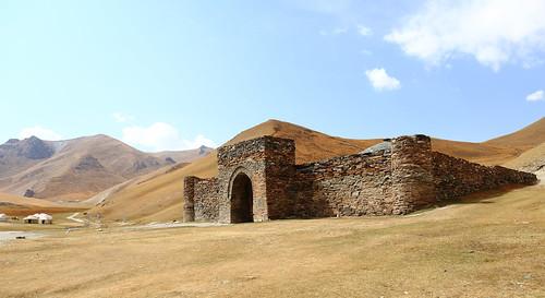 kyrgyzstan tash rabat caravanserai fortress stone land central asia steppe landscape kyrgyz scenery view