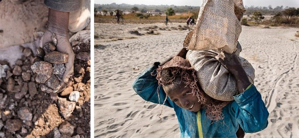 年幼的孩童揹著礦石。圖片來源:Sebastian Meyer for Fortune Magazine