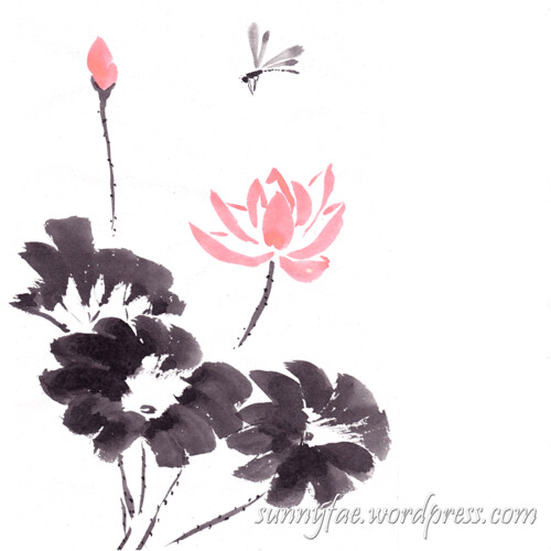 inkktober day 26 lotus and a dragonfly