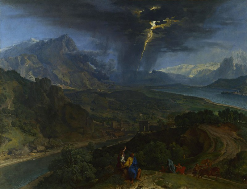 Francisque Millet - Mountain landscape with lightning (c.1675)