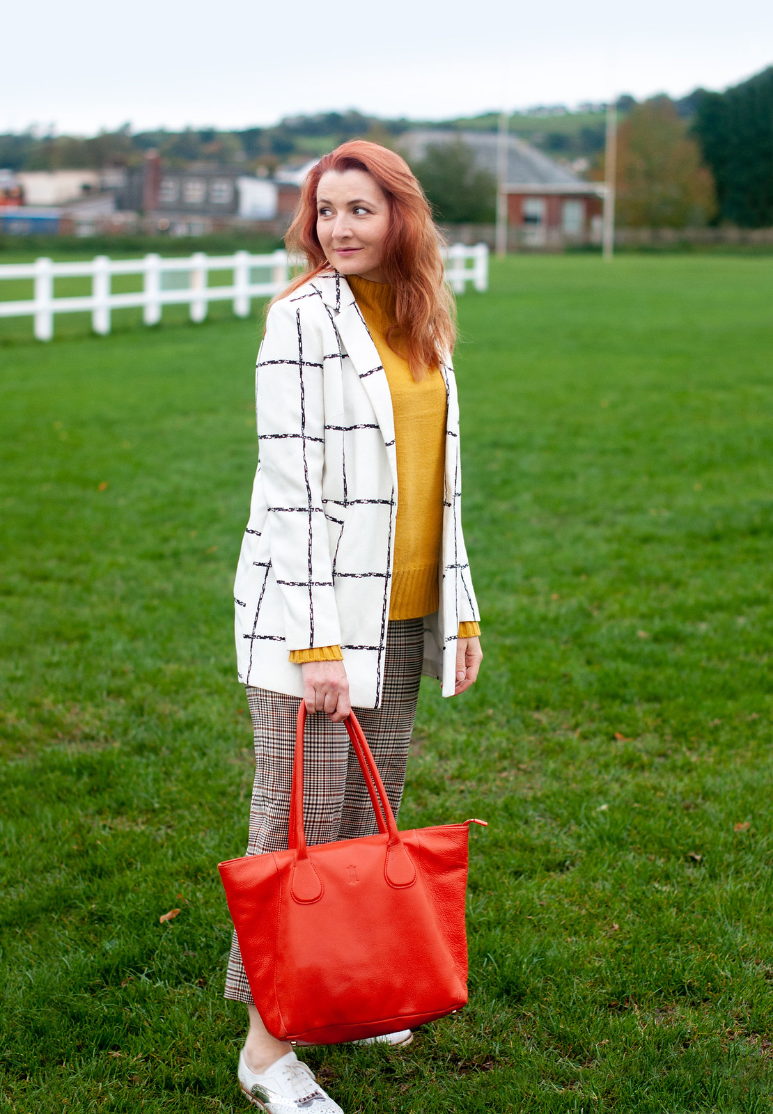 Pattern Mixed Checks With Orange and Yellow in Autumn, Over 40 Style | Not Dressed As Lamb