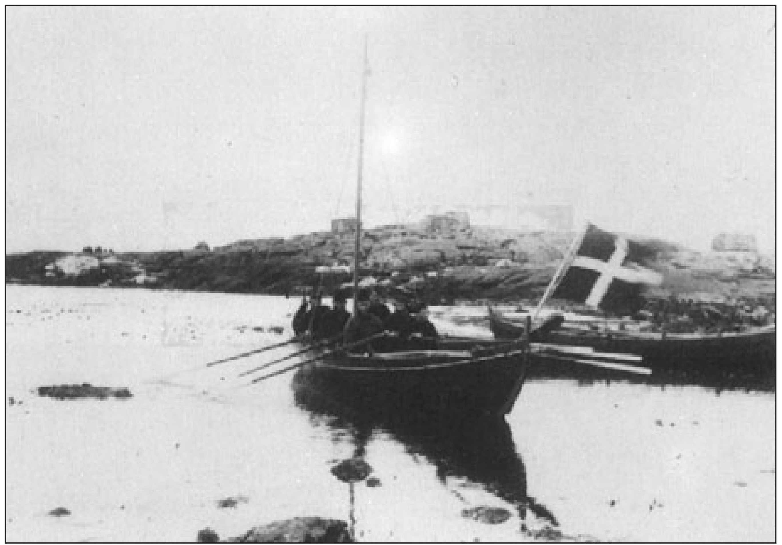 Six-man rowing boat used by the skjútsur system photographed at Skopun on Sandoy island, Faroe Islands. From Føroya Fornminnissavnið, file 89.013, reproduced on page 102 of More Stamps and Story of the Faroe Islands by Dan Brandt (2006).