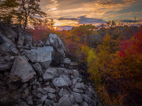 eastfreetown massachusetts unitedstates us drone mavicpro profilerock rock outcropping sunset fallfoliage