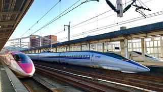 500系新幹線が並んだ