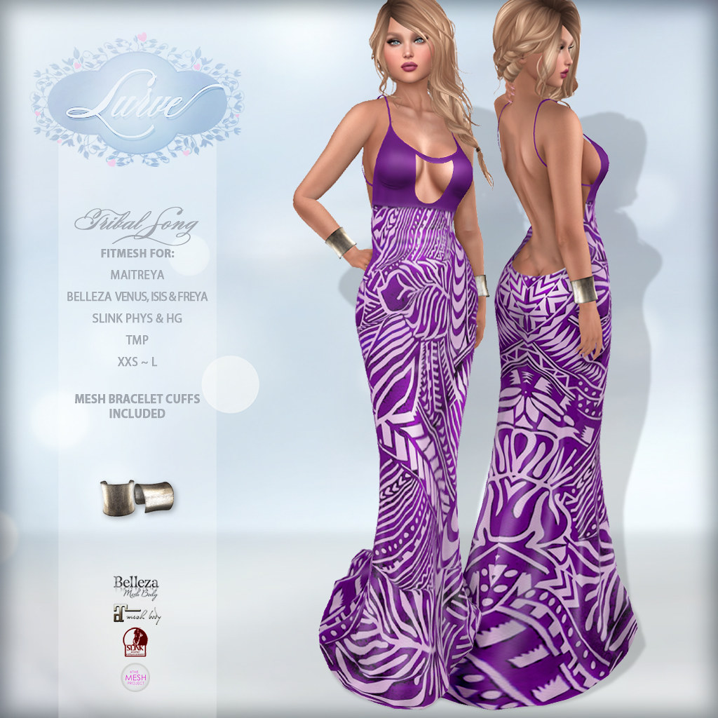 *Lurve* Tribal Song Fitmesh Gown in Violet