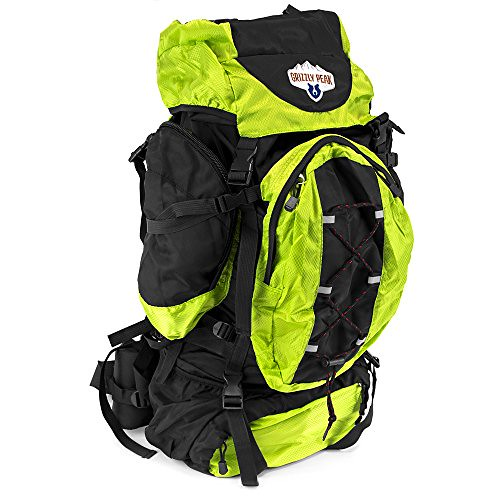 Cheap 70L Internal Frame Hiking and Camping Daypack Backpack with Ripstop Water-Resistant Nylon (Lime)