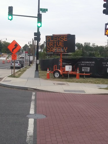 """Please Drive Safely"" digital road sign, Brookland"