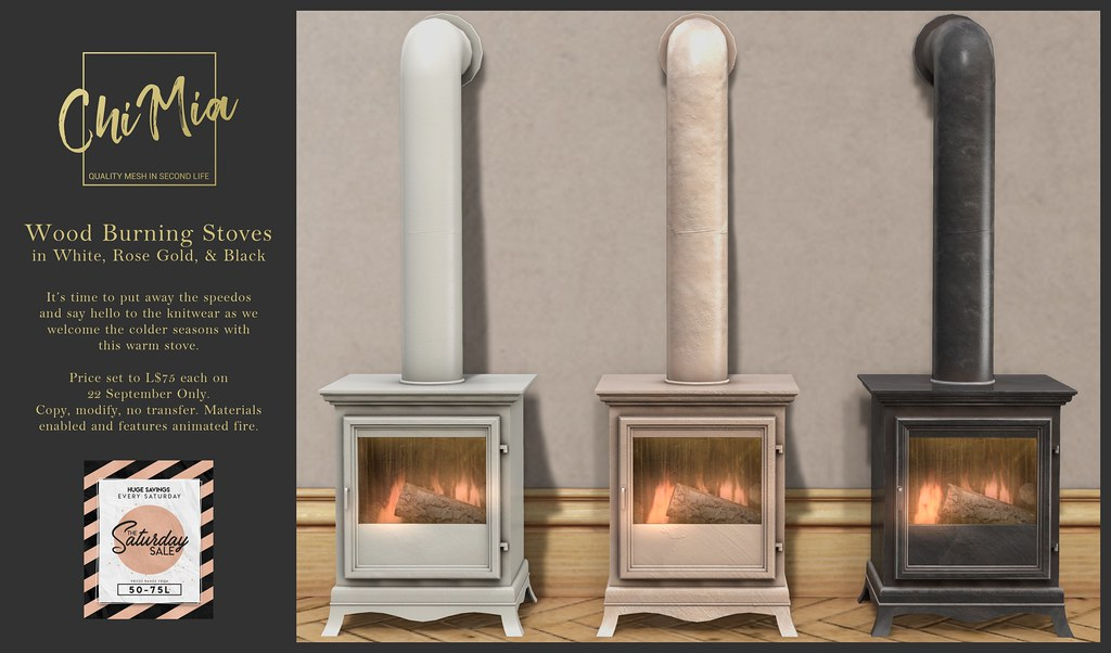 ChiMia – Wood Burning Stoves in White, Rose Gold & Black for Saturday Sale