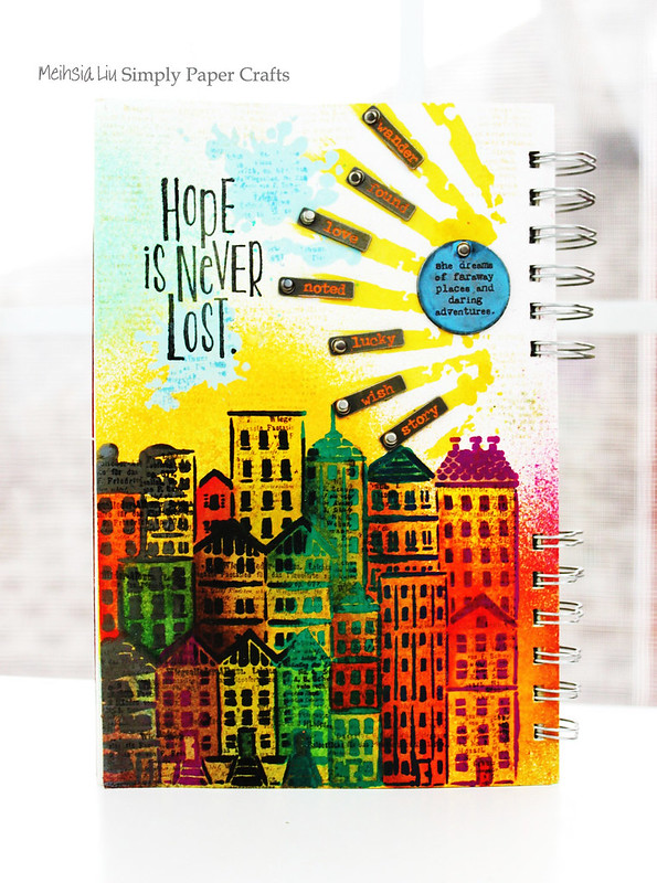 Meihsia Liu Simply Paper Crafts Mixed Media Art Journal Cityscape Hope Simon Says Stamp Tim Holtz 1