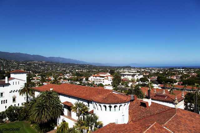 The Santa Barbara County Courthouse. Original image from Carol M. Highsmith's America, Library of Congress collection. Digitally enhanced by rawpixel.