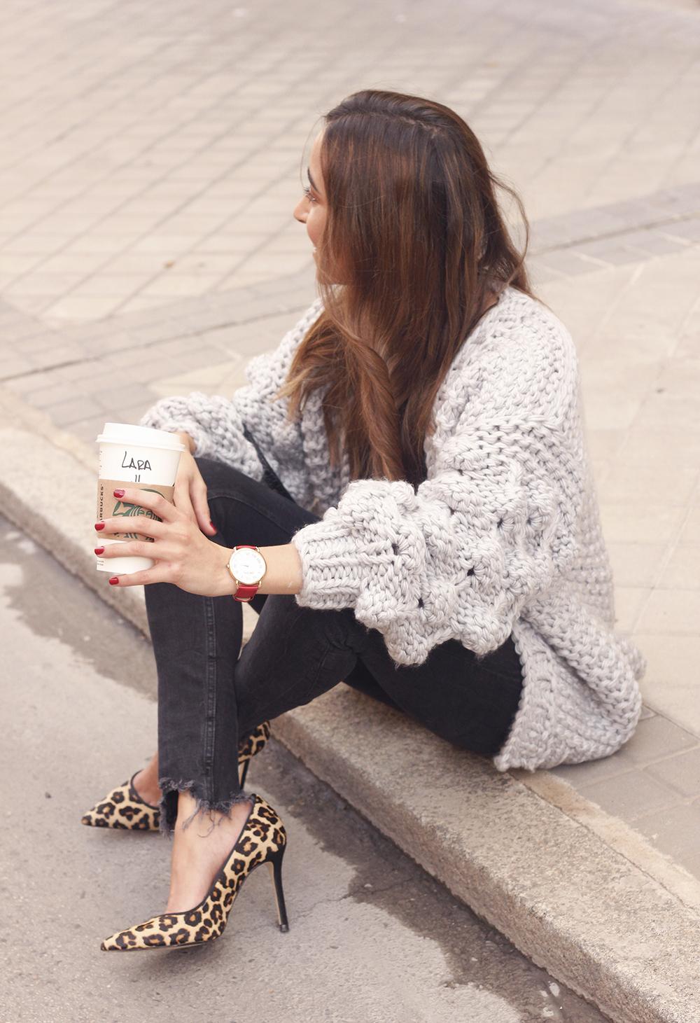 Grey cardigan black jeans folli folie watch leopard print heels starbucks tea street style fall outfit 201811