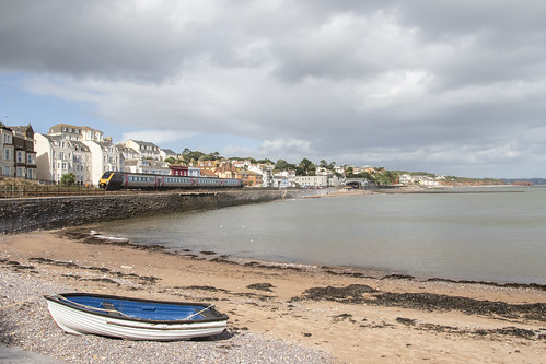 seaside trains railways railroads dawlish devon unitedkingdom greatbritain uk scenic panorama clouds september 2018 voyager class220 crosscountrytrains newcastletoplymouth stock photos photographs photography pictures images viewof travel transport jeremysegrott