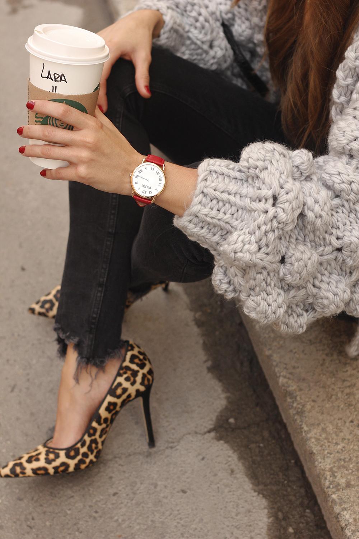 Grey cardigan black jeans folli folie watch leopard print heels starbucks tea street style fall outfit 201810