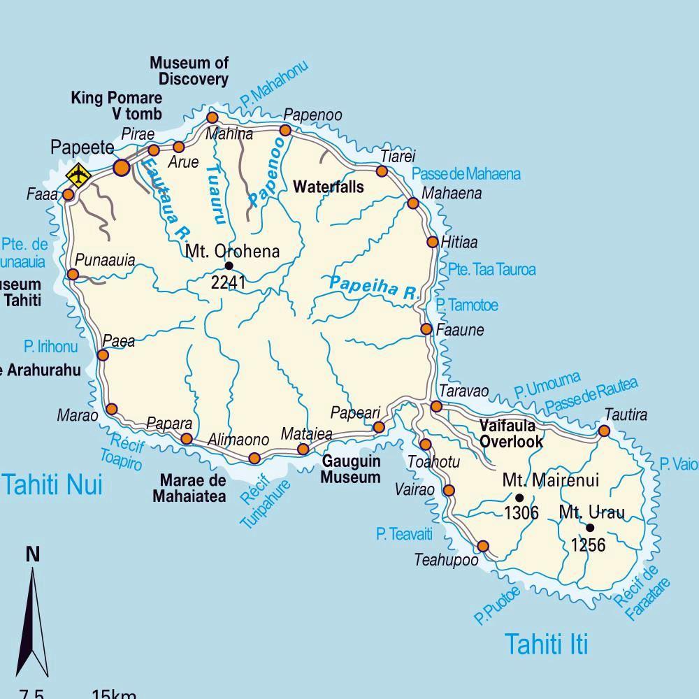 Map of Tahiti, French Polynesia