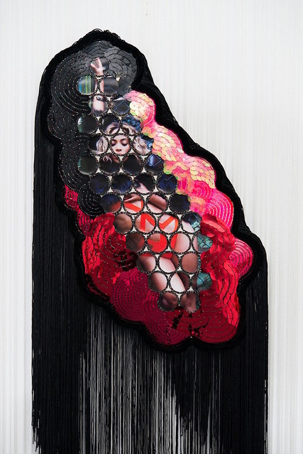 IMG6_Snoswell_Feelin' Fine #5 2016, Beyoncé calendar, metallic thread, sequins, calico, tassel, velvet trim, string curtain, beads, MDF (1)